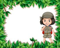 Fille d'explorateur dans la jungle illustration stock