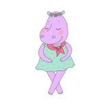 Fille d'hippopotame avec les yeux fermés ayant une guirlande de fleur sur la tête Photos libres de droits