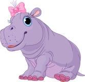 Fille d'hippopotame de chéri de dessin animé Photo libre de droits