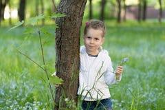 Fille d'Ittle avec un groupe de myosotis des marais dans sa main jetant un coup d'oeil par derrière un arbre photos stock