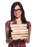 Fille d'université avec des livres Images stock