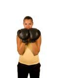 Fille dans des gants de boxe Photo stock