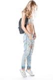 Fille dans des jeans Photographie stock libre de droits
