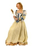 Fille dans des vêtements polonais du siècle 16 avec le miroir-ventilateur Images stock