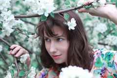 Fille dans la branche de fleur du pommier Images libres de droits
