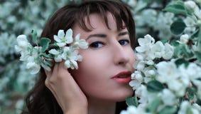 Fille dans la branche de fleur du pommier Photos libres de droits