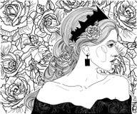 Fille dans la couronne de la reine Images libres de droits