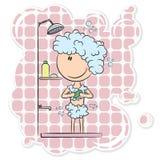 Fille dans la douche Photos stock
