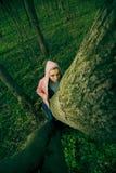 Fille dans la forêt Photos libres de droits