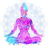 Fille dans la pose de lotus au-dessus du modèle rond fleuri de mandala Concept de yoga Photographie stock