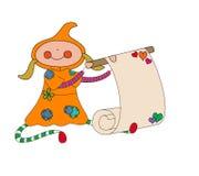 Fille dans la robe à capuchon tenant le rouleau de message Image stock