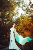 Fille dans la robe blanche dans la forêt Image stock