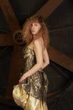 Fille dans la robe brillante de brocard contre en fonction un dos d'obscurité Photographie stock