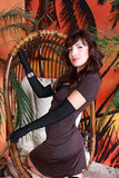 Fille dans la robe brune Photographie stock