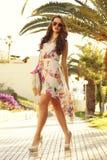 Fille dans la robe d'été Photo stock