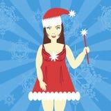 Fille dans la robe de Noël Images libres de droits