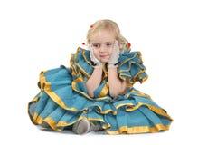 Fille dans la robe de point de polka Photos stock