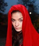 Fille dans la robe longue rouge Images stock