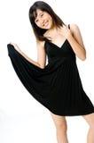 Fille dans la robe noire Image stock