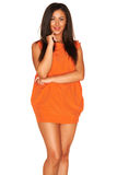 Fille dans la robe orange Photographie stock