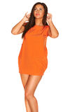 Fille dans la robe orange Images libres de droits