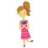 Fille dans la robe rose illustration de vecteur