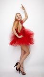 Fille dans la robe rouge Image stock