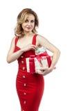 Fille dans la robe rouge Photo libre de droits
