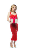 Fille dans la robe rouge Photo stock