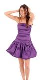 Fille dans la robe violette images stock