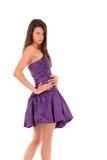 Fille dans la robe violette image libre de droits