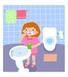 Fille dans la salle de bains Images libres de droits