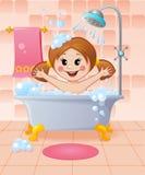 Fille dans la salle de bains Photo stock