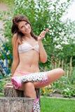 Fille dans le bikini Photo stock