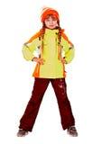 Fille dans le chapeau d'automne et la jupe de sport oranges. Images libres de droits