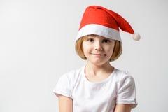 fille dans le chapeau de Santa Image stock