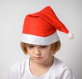 fille dans le chapeau de Santa Images stock