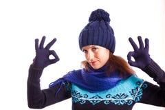Fille dans le chapeau tricoté Photo libre de droits