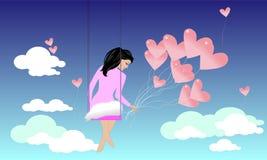 Fille dans le ciel Illustration Stock