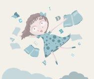 Fille dans le ciel avec des livres et l'alphabet Image stock