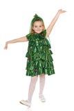 Fille dans le costume d'arbre de Noël Image libre de droits