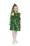 Fille dans le costume d'arbre de Noël Photos stock