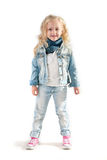 Fille dans le costume de denim Photo stock