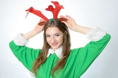 Fille dans le costume de Noël Images libres de droits