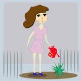 Fille dans le jardin illustration libre de droits