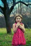 Fille dans le jardin de pomme Photos libres de droits