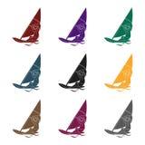 Fille dans le maillot de bain sur un bateau à voile L'athlète impliqué dans la navigation en mer l'active folâtre l'icône simple  Images stock