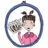 Fille dans le miroir pensant au type de saison de couleurs femelles Illustration de vecteur Image libre de droits
