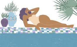 Fille dans le paradis Positif de corps Vacances d'?t? Beau femme sur la plage illustration stock