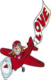 Fille dans le petit avion avec le signe d'amour illustration de vecteur